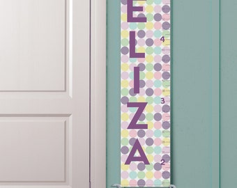 """Personalized Growth Chart """"Pastel Polka Dots"""""""
