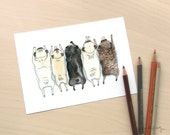 Pug Spectrum - Art print of our pug grumble ink and watercolor illustration with fawn, brindle and black pugs in a row by InkPug