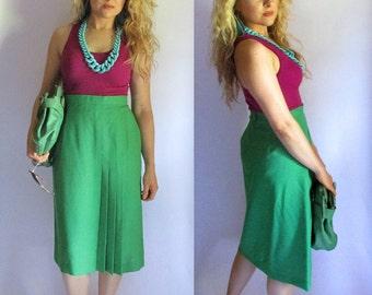 Vintage 70s Green Pleated Skirt by Bobbie Brooks | Size S | Apple Green Preppy Schoolgirl Skirt Vintage Skirt 70s Clothing