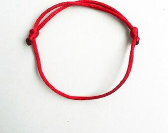 Simple String Lucky Bracelet, Dark red rattail,Kabbalah jewelry,Minimalist,Rope bracelet,Adjustable bracelet,Womens gift,Buddhist,Satin cord
