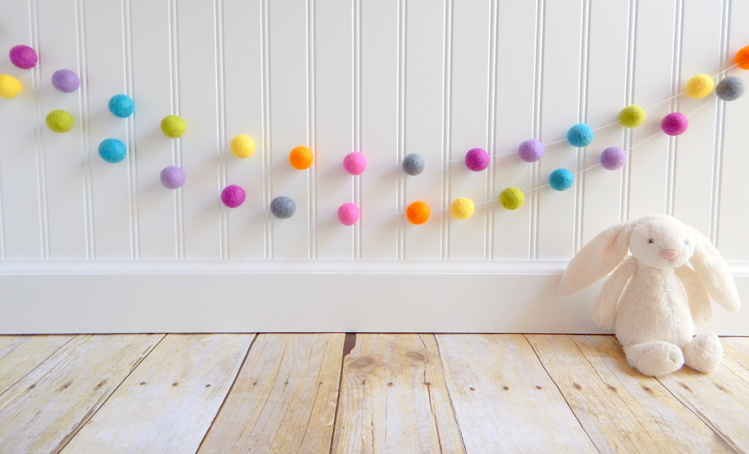 Garland felt ball garland girl nursery decor baby room for Baby girl nursery mural