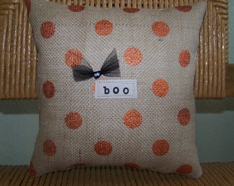 Boo pillow, Halloween pillow, Fall pillows, burlap pillow, stenciled pillow, Halloween decor, Fall decor, polka dot pillow FREE SHIPPING!