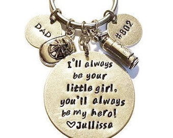 Firefighter key chain - I'll always be your little girl - Father's Day key chain - You'll always be my hero key chain - Fireman key chain