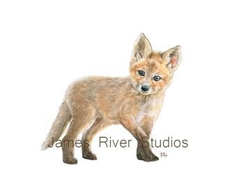 Fox Art Fox Painting Fox Print Baby Fox Watercolor Baby Animal Painting Baby Fox Nursery Art Children Art Woodland Animal Forest Animal Art