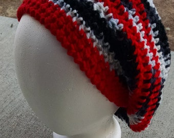 Hand-Crocheted, Slouchy Beanie in Panted Zebra