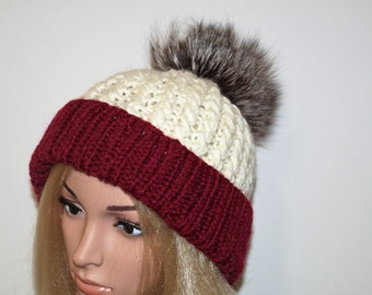 Burgundy Hat,White Hat,Winter Hat,Womans Hat , Natural Fur Pom Pom,Hand Knitted Hat,Handmade Cap,Natural Fur,Knitted Cap,Handmade Hat