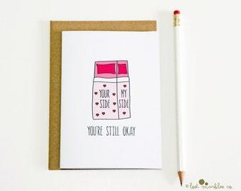 Blague anniversaire carte ∙ drôle Valentines carte ∙ amour carte ∙ juste parce que ∙ lit ∙ carte pour sa carte ∙ pour lui ∙ vous êtes toujours OK (lit)