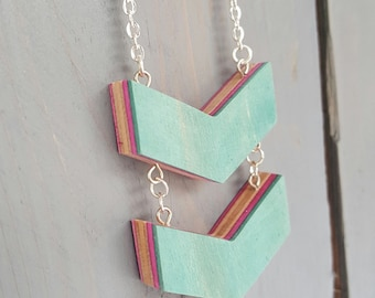 Recycled Skateboard Chevron Necklace