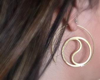 Zen jewelry, Spiral Earrings, Yoga jewelry, Yin yang earrings, Festival jewelry, Gypsy Earrings, Tribal Eearrings, Bohemian earrings