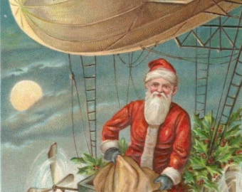 Antique Christmas postcard Santa toys dirigible digital download printable image