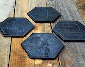 Industrial Steel Coaster Set, Numbered