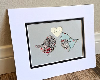 Custom Love Birds Art- Anniverary or Wedding Gift- Map Gift- One Year 1st Anniversary- Long Distance Relationship Gift -Wall Art
