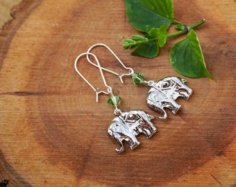 Kidney Earrings,Elephant Earrings,Choose Your Color Birhtstone,Swarovski Earrings,Birthstone Earrings, Gift For Her,Girls Earrings,Elephant