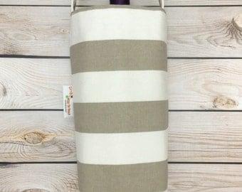 Stylish Beige Stripes Wine Tote, Wine Carrier, Wine Gift Bag, Canvas Wine Bag, Wine Cozy