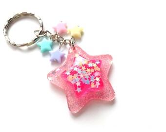 Fairy Kei Dark Pink Star Keychain, Kawaii Pastel Stars Charm, Cute Star Keyring, Sweet Lolita, Pastel Kei, Harajuku
