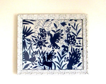 """Mi Pueblo. Otomí fabric in White Shabby chic Frame - hand embroidered. Cobalt Blue. 27"""" X 24"""" Wall Decor PICTURE FRAMEs Antique White"""