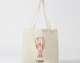 X9Y Tote bag lobster, canvas bag, shopping bag, handbag, diaper bag, bag races, current bag, market bag, beach bag