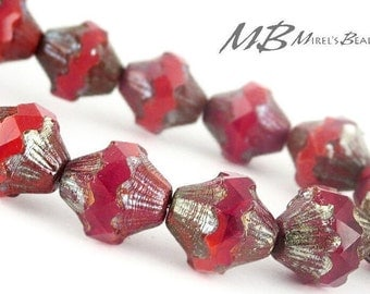 Red Bicone Beads, 11x10mm Czech Glass Beads