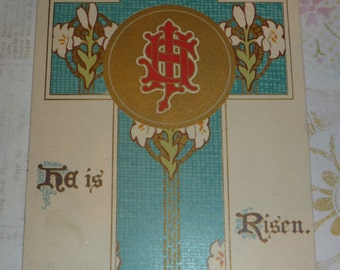 Turquoise Cross With Easter Lilies Antique Nister Postcard