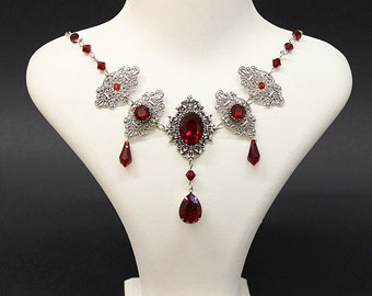Royal Vampire Gothic necklace - antique silver settings and blood red Siam Swarovski crystals - Victorian Gothic jewelry