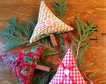3 Handmade Fabric Tree Ornaments with Cinnamon Stick Trunks, 3 Hanging Christmas Tree Ornies, Christmas Decorations, (#1) Ready to Ship