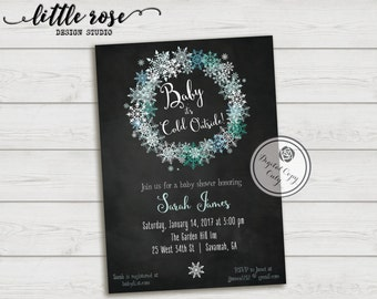 Winter Wonderland Baby Shower Invitation   Little Snowflake Invite   Baby  Itu0027s Cold Outside   Holiday