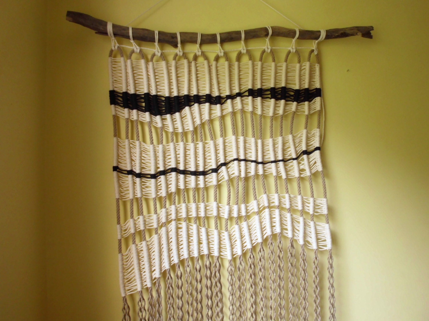 Macrame wall decor Bohemian macrame hanging on driftwood /