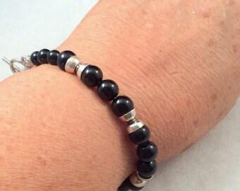 Semi Precious, Silver Bracelet.  Turquoise, Black Onyx, Tiger Eye, Sandalwood or Blue Lapis.  free US ship