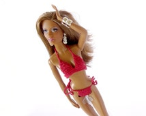 Model Muse Barbie Basics doll bikinis - dark red high quality basic Barbie doll swimwear for collector ModelMuse body sculpt doll
