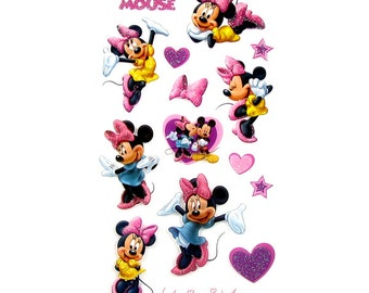 Minnie Mouse Stickers, Darice Disney Collection, Pink Purple, Girl's Birthday Card Invitation Decoration, Scrapbook Supply, Vacation Planner