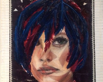 Girl with Blue Feather Hair
