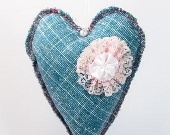 Blue fabric heart, padded heart, handmade heart, upcycled fabric heart, hanging heart, love gift,  Amigurumi heart, Valentines day gift