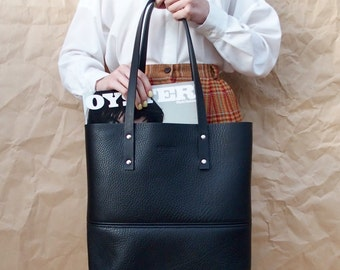Black Leather Tote Bag - Handcrafted in Australia