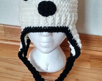 Crochet Panda Bear Hat with earflaps
