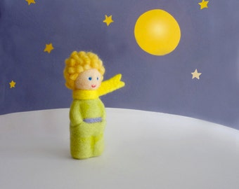 MADE TO ORDER - Needle Felted Sculptures - Prince - Kokeshi style doll - Miniature Wool dolls