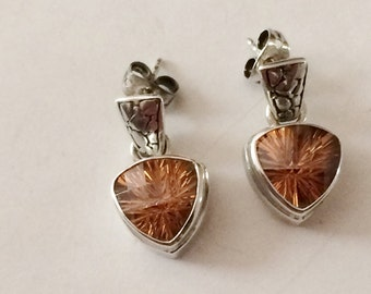 Sterling Silver And Amber Colored Crystal Earrings