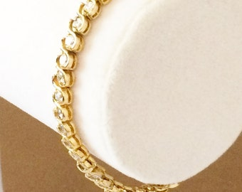 Sterling Silver Gold Plated Clear Rhinestone Tennis Bracelet 7""