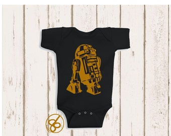 Star Wars R2D2 Baby Onesie in Black - R2D2 Star Wars Bodysuit - Funny Onesie