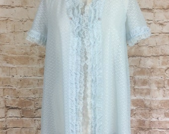 Vintage Robe Dressing Gown House Coat Semi Transparent See Through Lacy Pale Blue Nylon Small - Medium c1960s