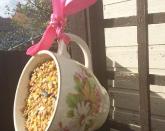 Teacup bird feeder, bird lover's gift, garden ornament, vintage bird feeder, garden decoration, china bird feeder, gift for her.