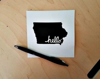Iowa 'Hello' Note Card Blank