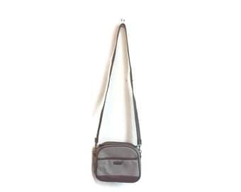 Vintage Beige Crossbody Purse BOHO HIPSTER bag 1980s cross body bag