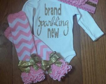 "Ready to ship Sale 3pc set SS 29.95  ""brand sparkling new"" Onesie,Pink chev Leg Warmers, & Hdbnd Set,baby take home set,newborn hospital"