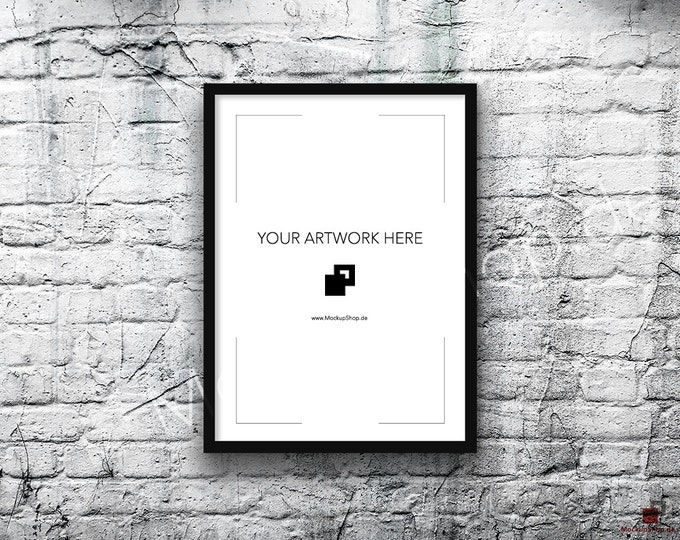 5x7 10x14 Vertical BLACK FRAME MOCKUP, Styled Photography Poster Mockup, old White Brick Background, Framed Art, Instant Download Digital