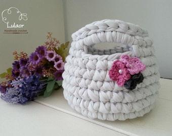 T-shirt yarn handbag/basket, recycled fabric yarn handbag/ basket