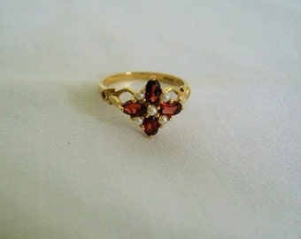 14K Garnet and Pearl Ring. Layaway welcome