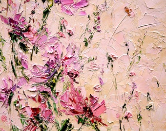 Flower Painting Oil Palette Knife Painting on Canvas Peony Painting Abstract Flowers Living Room Wall Art Light Pink Flowers Painting Oil