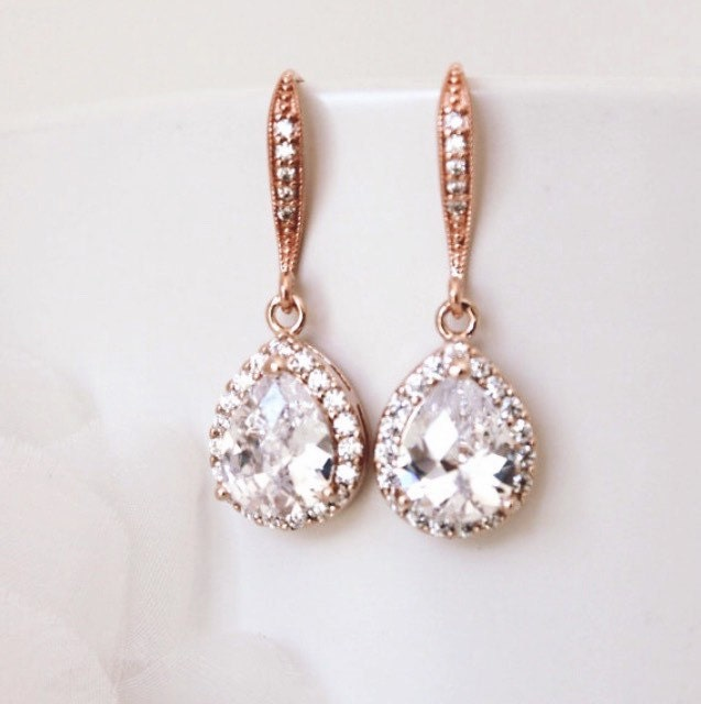 Rose Gold Bridal Earrings Wedding Jewelry Crystal Bridal Earrings Drop Earrings Bridesmaid Gift Bridal Jewelry Rose Gold Earrings