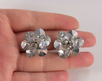 Vendome Earrings White Rhinestone Crystals, Signed Vintage Jewelry