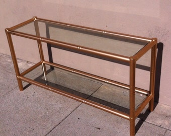 Vintage Glass Console Table, Glass Sofa Table with Shelf, Glass Console Table Modern, Long Glass Console Table, Narrow Glass Console Table